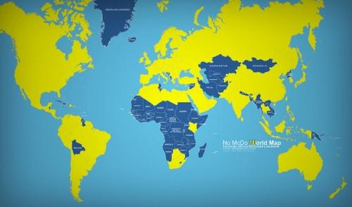 Escolha entre os poucos países que ainda não receberam uma arcada amarela