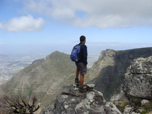 Maravilhado com a vista da Table Mountain
