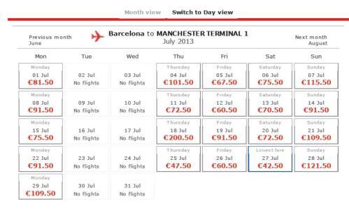 Você escolhe a data do mês que quer viajar
