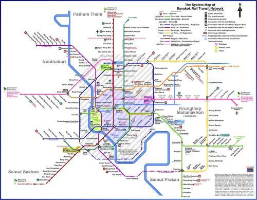 Clique na imagem par ampliar o mapa de toda rede metro ferroviária de Bangkok