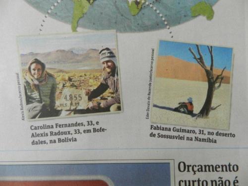 Foto da Fabi na Folha de São Paulo curtindo o visual na Namíbia