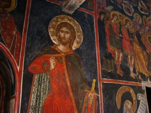 Paredes inteiramente pintadas, característica do Monastério de Varlaam
