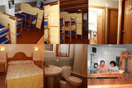 No sentido horário de cima para baixo: quartos coletivos com biombos, banheiros coletivos, quarto de casal e banheiro privado e cozinha