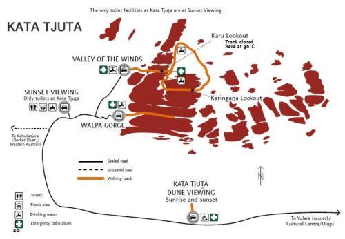 Mapa de trekkings de Kata-Tjuta