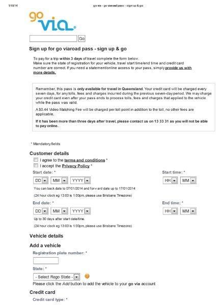 Registro para pagamento de pedágio no estado de Queensland. Clique na imagem para ser redirecionado a página