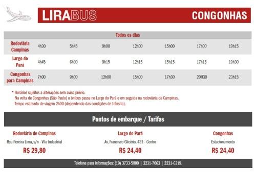 Horários de ônibus no trajeto Aeroporto de Congonhas - Campinas - Aeroporto de Congonhas (Clique na imagem para ampliar)