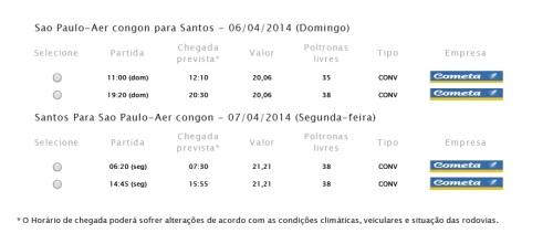 Horários de ônibus no tajeto Aeroporto de Congonhas - Santos - Aeroporto de Congonhas