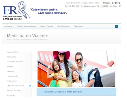 Página do Núcleo de Medicina do Viajante no Instituto Emilio Ribas