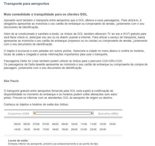 Horários de translado Gol entre Congonhas e Guarulhos (Clique na imagem para ampliar)