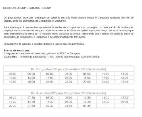 Horários de translado Tam entre Congonhas e Guarulhos (Clique na imagem para ampliar)