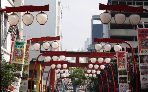 Lanternas japonesas no bairro da Liberdade