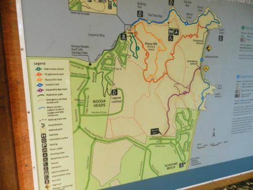 Mapa do Noosa National Park e suas trilhas