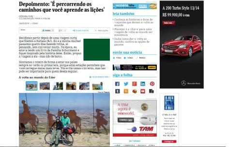 Matéria no site da Folha de São Paulo