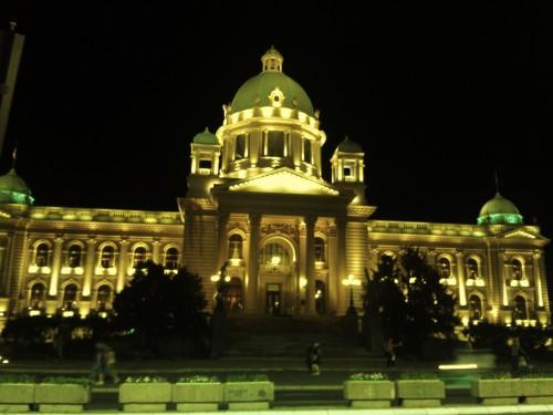 Vista do parlamento à noite