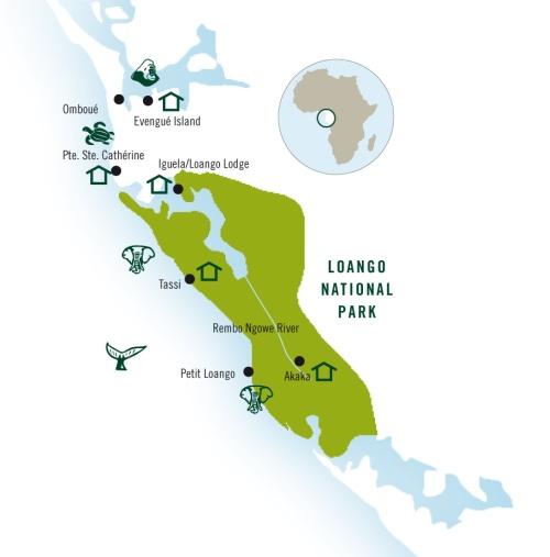 Mapa com as atrações do Parque Nacional Loango