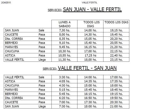 Horários de ônibus da rota San Juan - San Agustín de Valle Fértil - San Juan