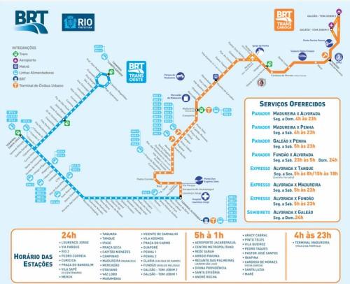 Mapa do BRT Trasncarioca (linha Alvorada X Galeão - laranja)