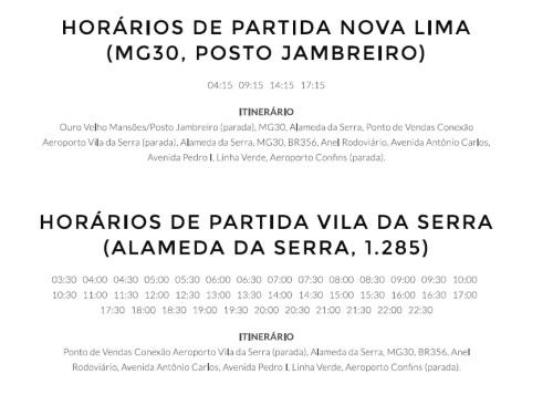 Partidas de Nova Lima para Confins