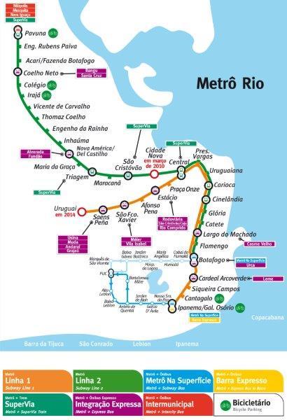 Mapa do metrô carioca
