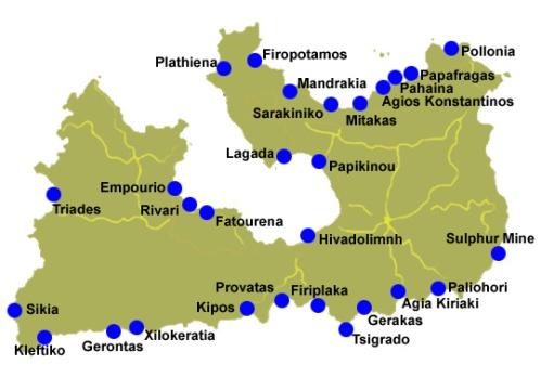 Mapa com as praias da ilha