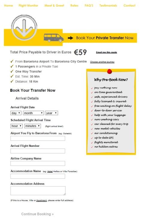 59 euros por um carro com capacidade para até 3 passageiros