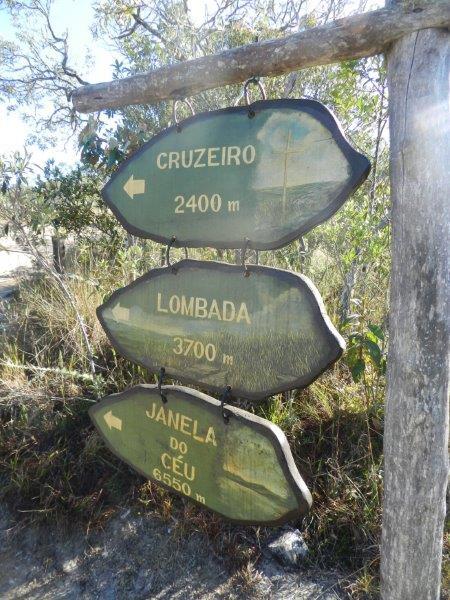 Placas indicando o ínicio da trilha do Circuito Janela do Céu