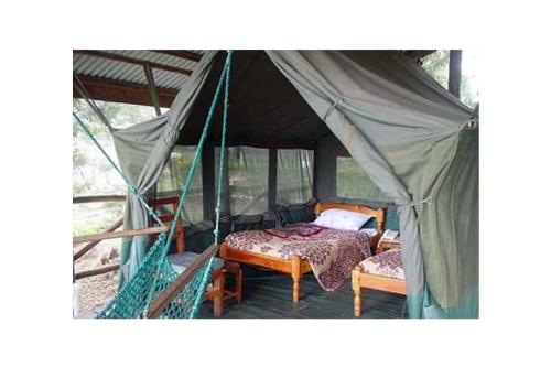 Barraca com camas, um pouco mais de conforto de um camping tradicional
