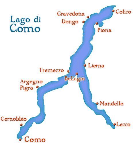 Mapa do Lago Como, uma forquilha de ponta cabeça